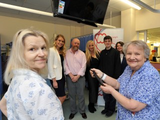 New TVs for the Haemotology Department at the LRI. Patients Nuala McGreal-Ward (left) and Margaret Pay. Back from left: Kirsty Heslewood, Tim Leech, Kerry Heslewood, Josh Beasley and Angie Beasley. Picture by Matt Short of Matt Short Photography