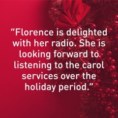"""Message of thanks. """"Florence is delighted with her radio. She is looking forward to  listening to the carol services over the  holiday period."""""""