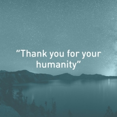 "Feedback from a Syrian refugee, who said ""Thank you for your humanity"""