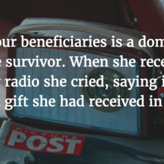 Feedback from one of our beneficiaries, a domestic violence survivor