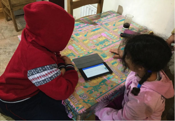 child survivors of domestic abuse using their WaveLength tablet computer