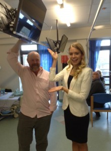 Our CEO Tim and our ambassador Kirsty Heslewood unveiling one of the new TVs in Ward 41 of Leicester's Royal Infirmary.