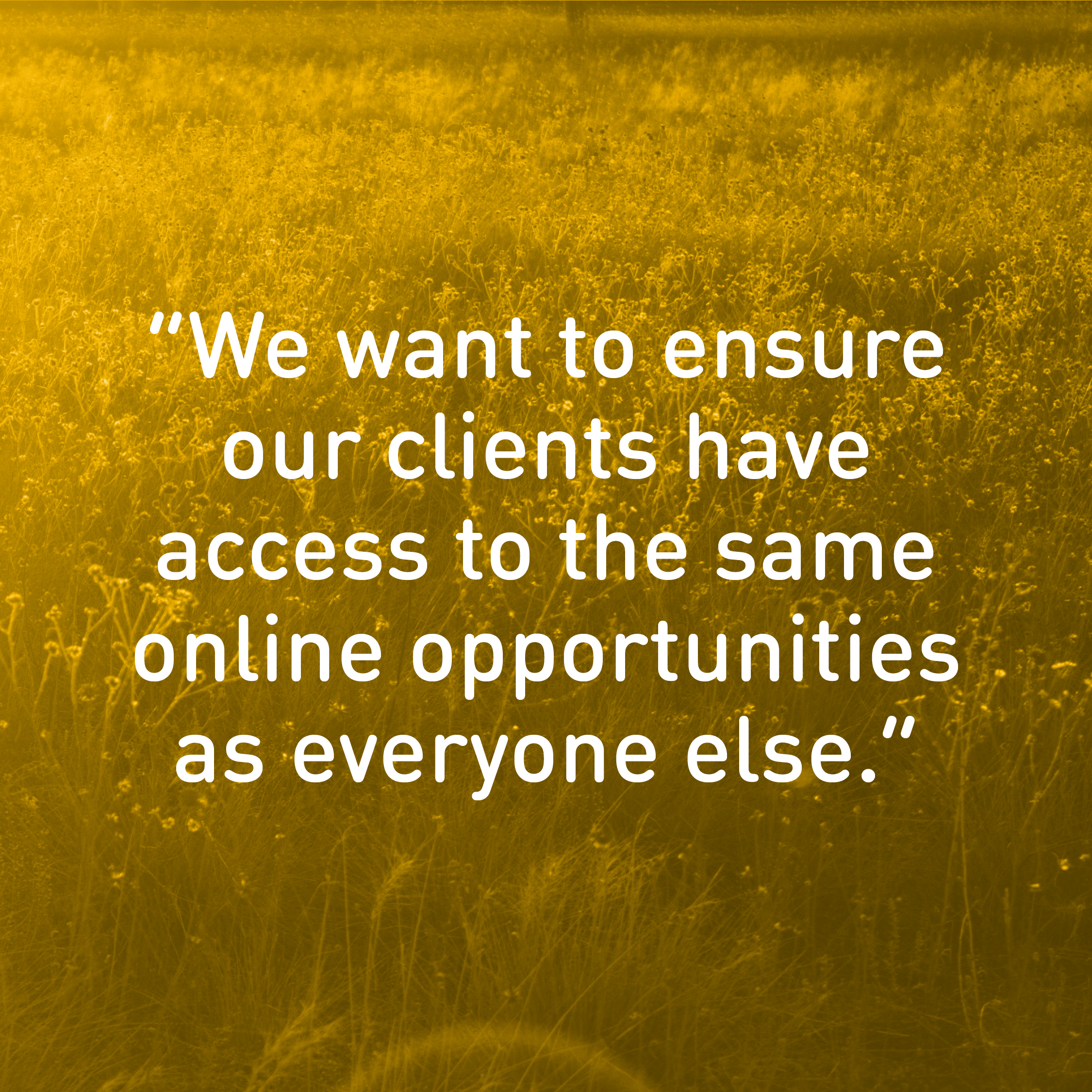 We want to ensure our clients have access to the same online opportunities as everyone else.