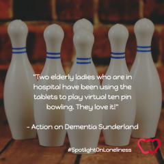 """Two elderly ladies who are in hospital have been using the tablets to play virtual ten pin bowling. They love it!"""