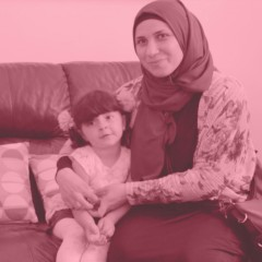 A refugee woman and her daughter describe how they use their new technology