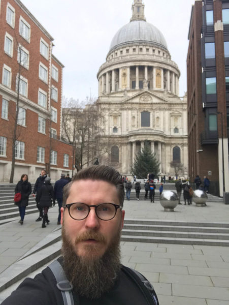Tim Nokes Christmas Day London Run outside St Paul's Cathedral