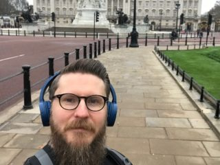 Tim Nokes outside Buckingham Palace on his Christmas Day Run
