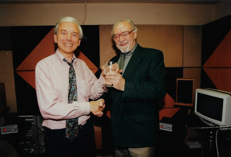 In 1998, BBC Radio presenter John Humphries. led our annual appeal. Here, we thank him for his vital support with a glass trophy in 1998.
