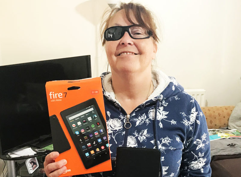 Shelley with a tablet from WaveLength